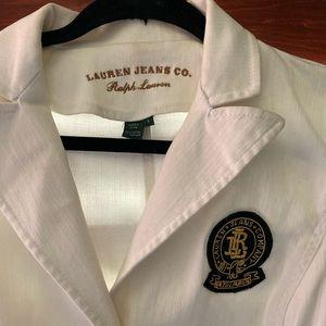 Ralph Lauren Jeans Co. White Denim Logo Jacket Sm